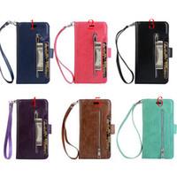 billetera iphone zip al por mayor-Cierre magnético 9 Ranuras para tarjetas Con la funda con cremallera Funda con tapa de cuero PU para iphone x 8G 7 más 6S más Samsung S8 PLUS NOTE8