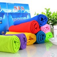 Wholesale black magic towels resale online - Cooling Ice Silk Towel Facecloth Running with Wipe sweat Sweatband Magic towel Hypothermia Absorbent washrag x90cm With Retail Box
