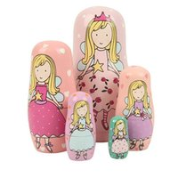 Wholesale Statues Angels Wholesale - 1XSet=5PCS Diffirent Size Wood Handmade Artwork Cute Angel Princess Nesting Matryoshka Russian Dolls Toy For Kids Girls Gift Craft Decoratio
