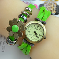 Wholesale bright digital watches resale online - Flower watch Fashion Bright Flower Weave Rope Leather Women s Watch Retro Bracelet Blossom Pendant Women Quartz Wristwatch