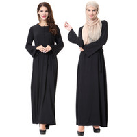 moslemische frauen abaya kleidung großhandel-Muslimische Frauen Langarm Dubai Kleid Maxi Abaya Jalabiya islamischen Frauen Kleid Kleidung Robe Kaftan marokkanischen Mode gebundenes Kleid