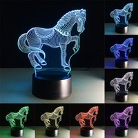 zèbre acrylique achat en gros de-3D Zebra LED Lampe de table Touch Colorful 7 Color Change Acrylic Night Light Accueil Party Cadeaux décoratifs en lampe