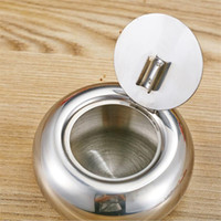 Wholesale Stainless Steel Covered Ashtrays - Stainless Steel Ashtray Thickening Drum Shape Windproof Ashtray with Cover European Style Personality Ashtray Creative Gifts DHL Fast Ship