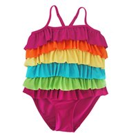 Wholesale Cute Bikinis For Kids - Baby Girls layered rainbow swimwear kids falbala colorful cute bikini suspender swimsuit one-piece bathing suit for 1-7T