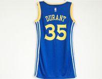 Wholesale Xxl Dress Western - 2017 New Basketball Jerseys Western Conference 30# Stephen Curry 35# Kevin Wayne Durant Women Sexy Dress Blue White