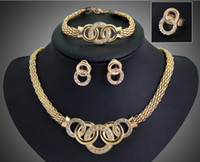 Wholesale Chunky Earrings Wholesale - Top Quality 18K Gold Plated Chunky Chain Statement Necklace Earrings Bracelet Ring Set For Women Crystal Wedding Jewelry Sets 6 Designs