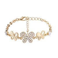 Wholesale Butterfly Rhinestone Bracelet Crystal - Butterfly Crystal Bracelets For Women Femme Fashion Punk Party Gift Vintage Rhinestone Chain Bracelets Bangles Wedding Jewelry Wholesale