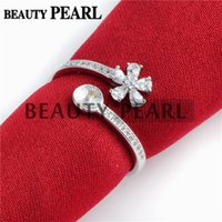Wholesale Ring Base Flower - Bulk of 3 Pieces Pearl Ring Base Mountings Zircon 925 Sterling Silver Flower Ring Blank Pearl Settings
