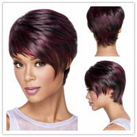 Wholesale bob cut natural african hair - Xiu Zhi Mei Synthetic Hair Women s Wigs Short Bob Wig Hair Straight Short Wigs for Black Women Color Pixie Cut Female African American