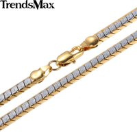Atacado- Trendsmax 3/4 / 5mm Womens Mens Chain Unisex Boys Meninas Escalas Nugget White Yellow Gold Filled Necklace Atacado Jóias GNM93