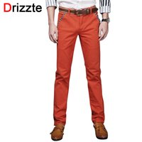 Wholesale Chino Trousers - Wholesale-Drizzte Brand Men Stretch Cotton Jeans Soft Chino Pants Casual Dress Trousers Size 33 34 36 38 Khaki Beige Black Blue