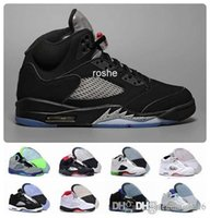 2016 Retro 5 OG Black Metallic Mens Basketball Shoes Atacado Alta qualidade couro genuíno Air Retro Sneakers Eur 41-47 US 8-13