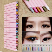 Wholesale Eye Lip Pencil Sets - Glitter Lip Liner Eye Shadow Pencil Pen Cosmetic Makeup Set Liner Combination For Women