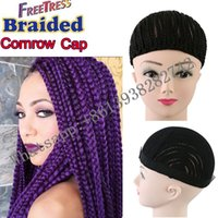 Wholesale Wholesale Lace Cap Wigs - cornrow braided caps crochet braids hair use lace wig cap with elastic band Cornrows Wig Cap for making wig TP material Easy crochet
