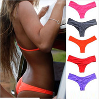 Wholesale Tanga Bikinis Swimwear - S-3XL Wholesale price multi V shape sexy brazilian bikini bottom women swimwear female thong swimsuit tanga micro brief Panties Underwear