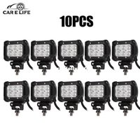 12v véhicule inondation achat en gros de-10Pcs 18W Work Light Bar 1800lm 6500K pour Chips Car Top Flood Beam Driving Lampe pour 12v 24v Vehicle SUV ATV etc