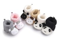 Wholesale High Waist Boots Toddler - 0-1 years old, newborn high waist plush thick warm toddler boots Cartoon panda soft bottom winter girl casual snow boots prewalker Z1