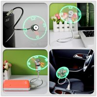 Wholesale adjustable laptop cooling online - Mini USB Fan gadgets Flexible Gooseneck LED Clock Cool For laptop PC Notebook Time Display high quality durable Adjustable