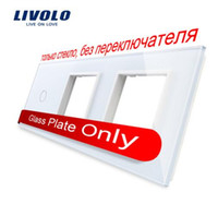 Wholesale Pearl Frames - Free Shipping, Livolo White Pearl Crystal Glass, 223mm*80mm, EU standard, 1Gang &2 Frame Glass Panel, VL-C7-C1 SR SR-11