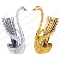 Wholesale Wedding Gift Cutlery - Silver swan fruit fork dessert set Fashion creative suits Luxurious gold fruit dessert fork cutlery quality wedding gift MYY
