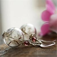 Wholesale Earrings Wishing - 4pairs lot Dandelion seed earrings, silver wish earrings , botanical jewelry, real flowers