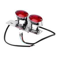 luces traseras de la motocicleta al por mayor-Nueva Racer Bobber Custom Motorcycle Tail Light Twin Oval LED Luz de freno Luz de freno trasero venta caliente