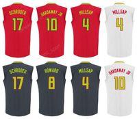 Wholesale Free Tim - Cheap 4 Paul Millsap Jersey Men 17 Dennis Schroder 8 Dwight Howard Basketball 10 Tim Hardaway Jr. Jerseys Red Black White Free Shipping