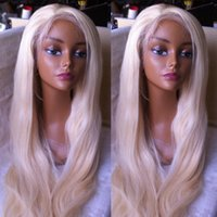 Wholesale Platinum Parts - platinum blonde hair wigs 200density glueless front lace hair wig #60 blonde human hair full lace wigs for women free parting