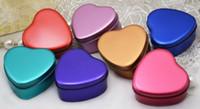 caixa de doces de menta venda por atacado-Atacado 100 Peças Forma Do Coração Menta Lata 7 Cor de Metal de Chocolate Caixa de Doces de Presente para Festa de Casamento Suprimentos EMS Frete Grátis