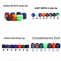 Wholesale exo style - 4 Styles IJOY RDTA 5 Cleito Atlantis EVO Taifun BT RTA Cleito EXO Tank Epoxy Resin Drip Tip Wide Bore Mouthpiece Vape DHL