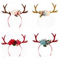 yetişkin baş bandı çiçekler toptan satış-4 renk nakliye bebek Yetişkin Noel Tasarım Çiçek Şanslı Geyik Kafa Noel Partisi çocuklar Yetişkin INS Saç Aksesuarları boşaltır