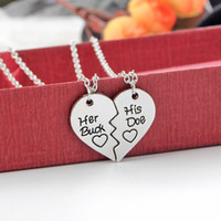 The Creative Letters Her Buck e Hise Love Elk Lovers Collana con catena pendente in cristallo Collana girocollo per donna