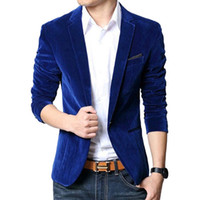 Wholesale Black Cashmere Blazer - Blazer men slim fit suit jacket costume homme black navy blue velvet coat mens blazer Jackets brand clothing Suits For Men