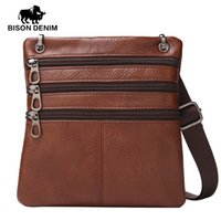 Wholesale silm phone - Wholesale- BISON DENIM enuine Leather Crossbody Bag for men Thin silm Vintage Messenger Bag Personalized small mini bag men gift