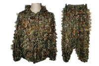 Wholesale Ghillie Suits - 3D Men Hunting Camouflage clothes maple leaf Bionic Yowie sniper birdwatch airsoft Clothing forest Ghillie Suits a set price