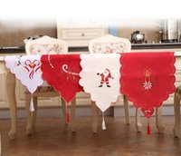 Wholesale Table Runner Tassel Wholesale - Christmas Festival Table Runner Dinner Cloth Modern Coffee Table Flag Embroidery Tassels for Party Home 4 colors HB019