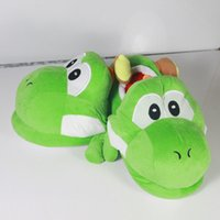 Wholesale Super Mario Shoes Kids - new hot sale Super Mario Yao Xilong plush slippers 28cm green Mario surrounding indoor warm shoes 3pcs   lot