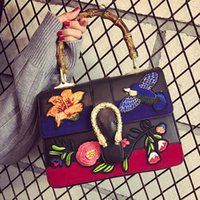 Wholesale Handbag Shoulder Shopper - ladies handbags 2016 fashion embroidered bag women famous brands designer flower bird bag bamboo shopper shoulder crossbody bags