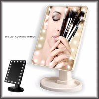 Wholesale Table Mirror Lights - Wholesale- 360 Degree Touch led Make Up Mirror light Cosmetic Folding Portable mirror Compact Pocket With 16 22 LED Lights table lamp