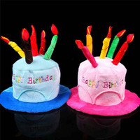 birthday cake dresses 2018 - Wholesale-New Creative Plush Soft Happy Birthday Cake Hat With Candles Cap Adult Size Fancy Dress Party Event Supplies Wholesale