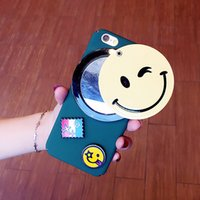 Wholesale Aircraft Fittings - For iPhone7   6s Smiley Mirror phone Case love hole aircraft TPU Soft Case with opp package