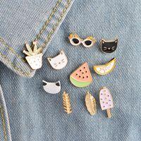 Wholesale Metal Clothes Pins - Cartoon Metal Brooches Lapel Pin Watermelon Lemon Cactus Cat Sunglasses Leaf Popsicles Design Clothes Badges Decoration