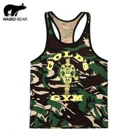 Wholesale Sexy Brown Bear - Wholesale- WAIBO BEAR 2016 vest bodybuilding clothing fitness men tank tops golds brand camouflage undershirt shark