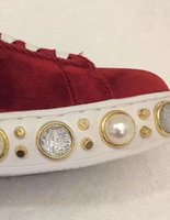 Wholesale Pink Rubber - 2017 fall spring womens black red pink blue velvet with gold studs beads Pearl embroidery lace up low top Rubber flat fashion sneakers