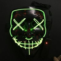 Wholesale Light Up Masquerade Masks - Plastic Full Face Mask EL Wire LED Light Up Grimace Masquerade Masks For Halloween Party Ghost Props 24 8yd BC
