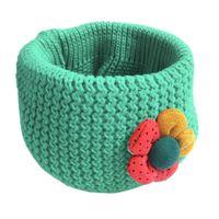 Wholesale Crochet Flower Girls Scarf - Wholesale- Cute Warm Winter Kids Scarf Children Fashion Little Boy Girl Ring Scarf Sun Flower Knitted Wool Crochet Warmer Scarves