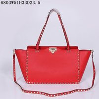 Wholesale leather large purse - Genuine Leather Red Women Handbags Famous Brand Designer Bags Ladies Graceful Ladies Zipper Purses Bags Top Quality 6803