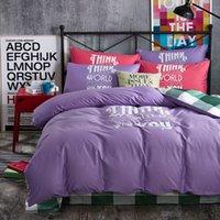 Wholesale Offset Machines - Leisure Style Offset Print Purple Color Twin   Queen   King Size 100% Cotton Kids Bedding Set