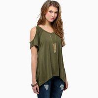 Wholesale Strapless Sleeved Shirt - 2017 T-shirt summer women's European and American style pure color V-collar strapless short-sleeved fish tail irregular hem T-shirt