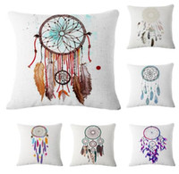 Wholesale New Hotel Knitting - New Arrival Dream Catcher Linen Cushion Cover Throw Pillow Case Cover Sofa Bed Car Decoration 45x45cm